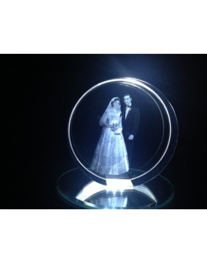 Circular Shaped Laser Engraved Crystal
