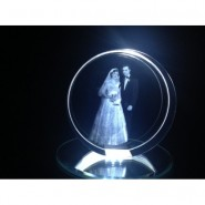 Circular LED engraved crystal