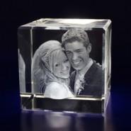 Cube Laser Engraved Crystal