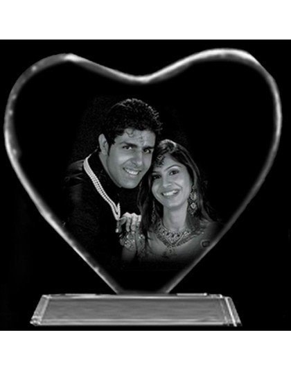 Heart shape LED engraved crystal